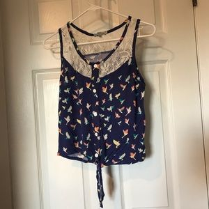 Forever21 blue front tie tanktop with bird design